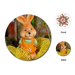 Easter Hare Easter Bunny Playing Cards (Round)