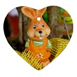 Easter Hare Easter Bunny Heart Ornament (Two Sides) Front