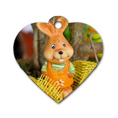 Easter Hare Easter Bunny Dog Tag Heart (Two Sides)