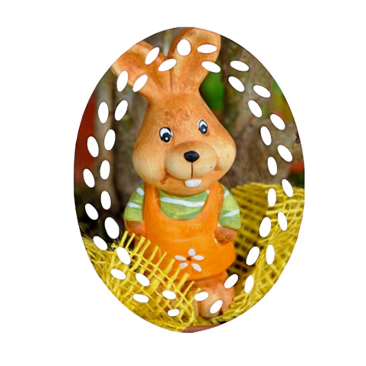 Easter Hare Easter Bunny Oval Filigree Ornament (Two Sides)