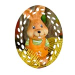 Easter Hare Easter Bunny Oval Filigree Ornament (Two Sides) Back
