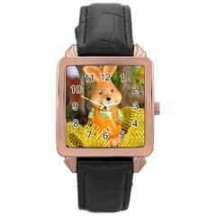 Easter Hare Easter Bunny Rose Gold Leather Watch