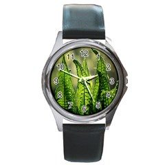 Fern Ferns Green Nature Foliage Round Metal Watch