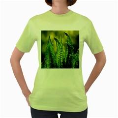 Fern Ferns Green Nature Foliage Women s Green T-Shirt