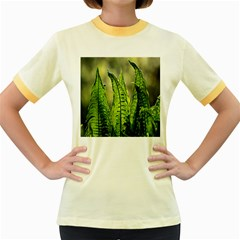 Fern Ferns Green Nature Foliage Women s Fitted Ringer T Shirts
