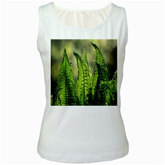 Fern Ferns Green Nature Foliage Women s White Tank Top