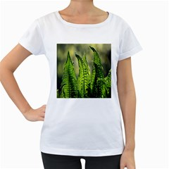 Fern Ferns Green Nature Foliage Women s Loose-Fit T-Shirt (White)