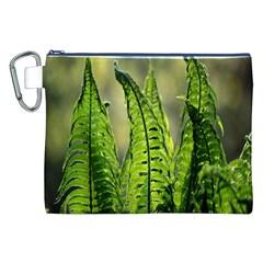Fern Ferns Green Nature Foliage Canvas Cosmetic Bag (XXL)