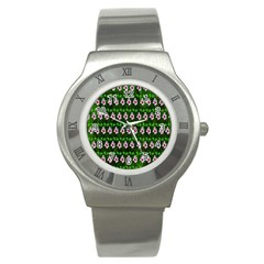Floral Pattern Stainless Steel Watch