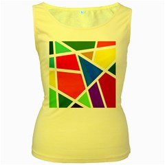Geometric Blocks Women s Yellow Tank Top