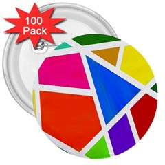 Geometric Blocks 3  Buttons (100 pack)