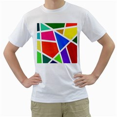 Geometric Blocks Men s T-Shirt (White) (Two Sided)