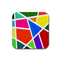Geometric Blocks Rubber Square Coaster (4 Pack)