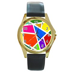 Geometric Blocks Round Gold Metal Watch
