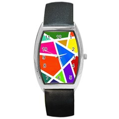 Geometric Blocks Barrel Style Metal Watch