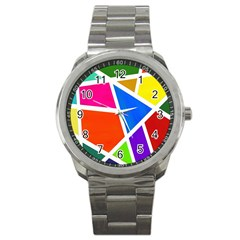 Geometric Blocks Sport Metal Watch