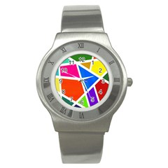Geometric Blocks Stainless Steel Watch