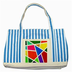 Geometric Blocks Striped Blue Tote Bag