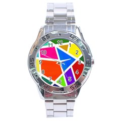 Geometric Blocks Stainless Steel Analogue Watch