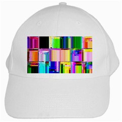 Glitch Art Abstract White Cap