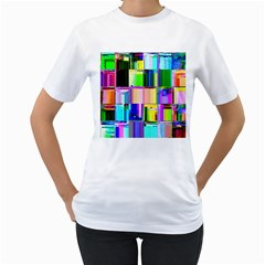 Glitch Art Abstract Women s T-Shirt (White) (Two Sided)