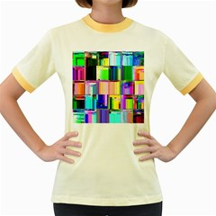 Glitch Art Abstract Women s Fitted Ringer T Shirts