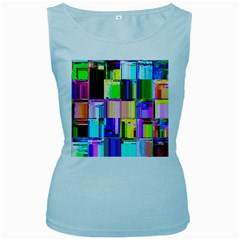 Glitch Art Abstract Women s Baby Blue Tank Top