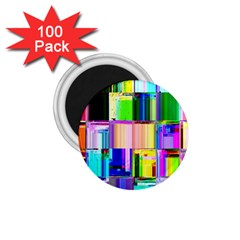 Glitch Art Abstract 1.75  Magnets (100 pack)