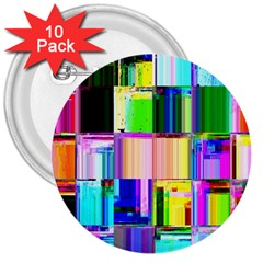 Glitch Art Abstract 3  Buttons (10 pack)