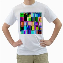 Glitch Art Abstract Men s T-Shirt (White) (Two Sided)