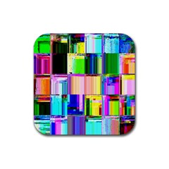 Glitch Art Abstract Rubber Square Coaster (4 pack)