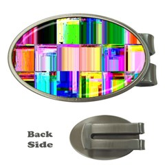Glitch Art Abstract Money Clips (Oval)