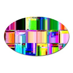 Glitch Art Abstract Oval Magnet