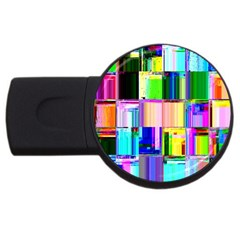 Glitch Art Abstract USB Flash Drive Round (1 GB)