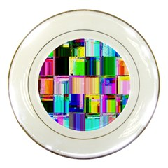Glitch Art Abstract Porcelain Plates