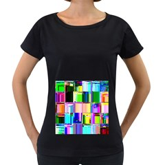 Glitch Art Abstract Women s Loose-Fit T-Shirt (Black)