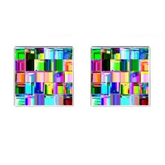 Glitch Art Abstract Cufflinks (Square)