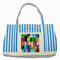 Glitch Art Abstract Striped Blue Tote Bag