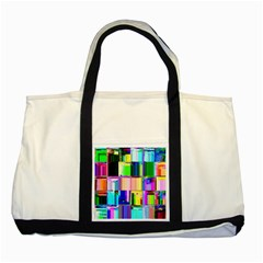 Glitch Art Abstract Two Tone Tote Bag