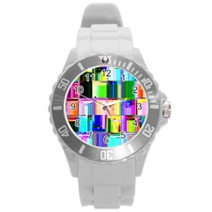 Glitch Art Abstract Round Plastic Sport Watch (L)