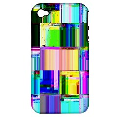 Glitch Art Abstract Apple iPhone 4/4S Hardshell Case (PC+Silicone)