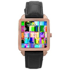 Glitch Art Abstract Rose Gold Leather Watch