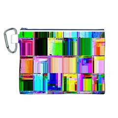Glitch Art Abstract Canvas Cosmetic Bag (L)