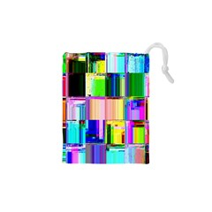 Glitch Art Abstract Drawstring Pouches (XS)