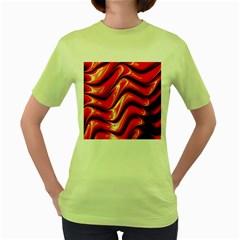 Fractal Mathematics Abstract Women s Green T-Shirt