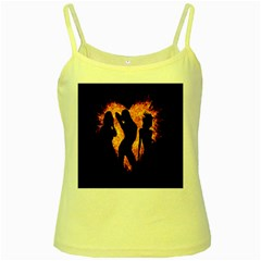 Heart Love Flame Girl Sexy Pose Yellow Spaghetti Tank