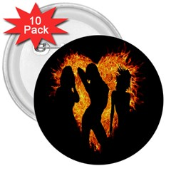 Heart Love Flame Girl Sexy Pose 3  Buttons (10 pack)