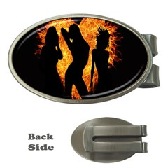 Heart Love Flame Girl Sexy Pose Money Clips (Oval)