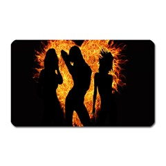 Heart Love Flame Girl Sexy Pose Magnet (Rectangular)
