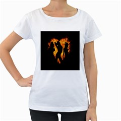 Heart Love Flame Girl Sexy Pose Women s Loose-Fit T-Shirt (White)